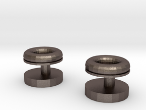 Torus Cufflinks in Polished Bronzed Silver Steel