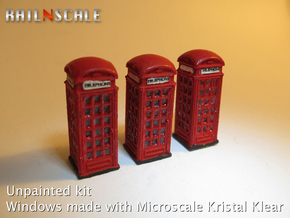 SET 3x Telephone box K2 (N 1:160) in Smooth Fine Detail Plastic