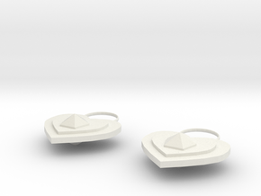 Heart Earring in White Natural Versatile Plastic