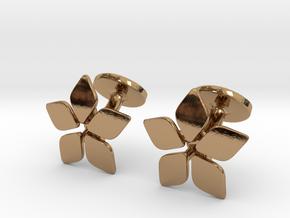 Five leafed cufflink in Polished Brass