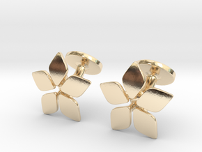Five leafed cufflink in 14K Yellow Gold