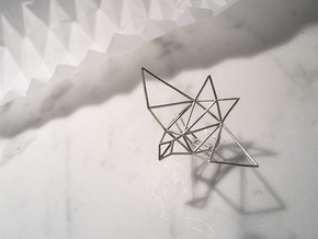 origami sparrow ring in Natural Silver: Small