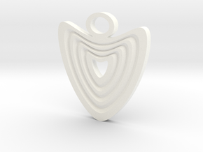 Heart with grooves Pendant in White Processed Versatile Plastic