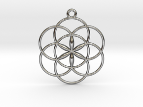 "Seed of Life Pendant 1"" in Polished Silver"