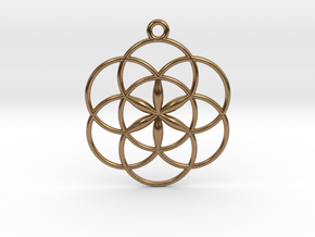 """Seed of Life Pendant 1"""" in Natural Brass"""