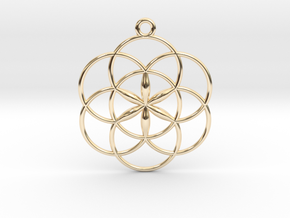 "Seed of Life Pendant 1"" in 14k Gold Plated Brass"