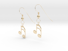 Music note earrings version 1 in 14k Gold Plated Brass