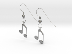 Music note earrings version 2 in Natural Silver (Interlocking Parts)