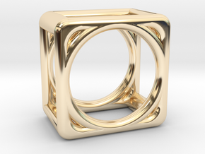 Simply Shapes Rings Cube in 14k Gold Plated Brass: 3.25 / 44.625