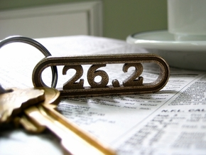 Marathon Keychain 26.2 - Better than a car decal! in Polished Bronzed Silver Steel