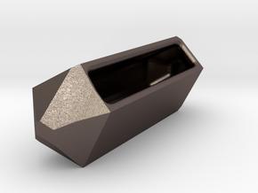 Go Geometric Homeware Keeper in Polished Bronzed Silver Steel