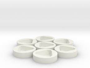7x D8 Socket in White Natural Versatile Plastic