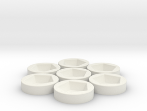 7x D12 Socket in White Natural Versatile Plastic