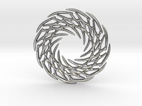 Rough Mandala earrings or pendant in Natural Silver