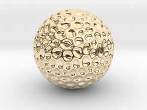 DRAW geo - sphere alien egg golf ball in 14k Gold Plated Brass: Small
