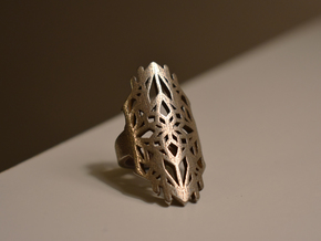 Gothic Ring in Polished Bronzed Silver Steel: 8.5 / 58