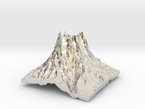 Mountain 2 in Rhodium Plated Brass: Small