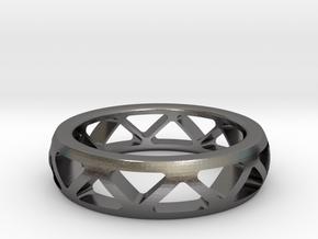 Geometric Ring- size 11 in Polished Nickel Steel: 11 / 64