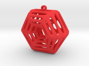 Voronoi Klein Earring (003) in Red Processed Versatile Plastic