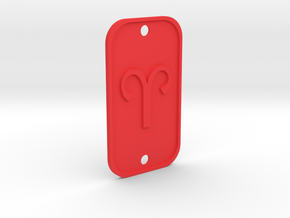 Aries (The Ram) DogTag V1 in Red Processed Versatile Plastic