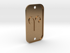 Aries (The Ram) DogTag V1 in Natural Brass