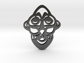 Mask Pendant in Matte Black Steel