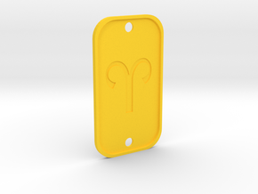 Aries (The Ram) DogTag V4 in Yellow Processed Versatile Plastic