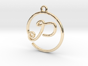 P Script Monogram Pendant in 14k Gold Plated Brass