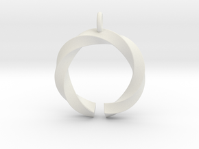 Open and twisted ring - Pendant or earrings in White Premium Versatile Plastic