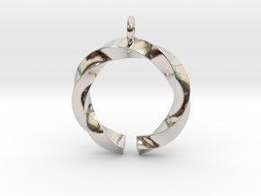 Open and twisted ring - Pendant or earrings in Rhodium Plated Brass