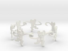 Monkey Band in White Premium Versatile Plastic