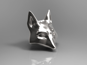 Large Foxhead Medallion in Polished Silver