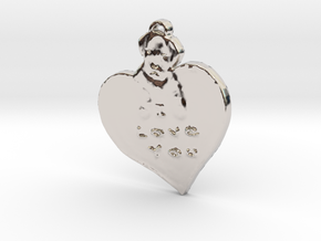 I love you with puppy in Rhodium Plated Brass