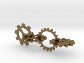 Steampunk Gears in Interlocking Raw Bronze