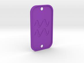 Aquarius (The Water-bearer) DogTag V3 in Purple Processed Versatile Plastic