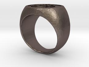 Wing Chun Kung Fu - Jook Wan Ring in Polished Bronzed Silver Steel: Small
