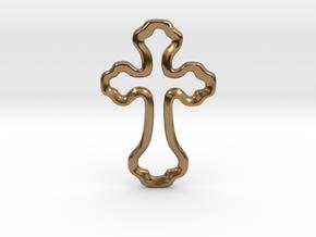 Delicate Open Cross Pendant in Natural Brass
