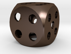 hollow dice made of metal - hohler Würfel Metall in Polished Bronze Steel