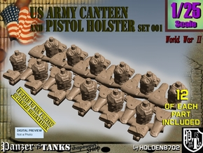 1/25 US Pistol Holster-Canteen WWII Set001 in Smooth Fine Detail Plastic