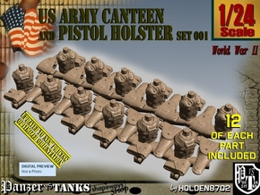 1/24 US Pistol Holster-Canteen WWII Set001 in Smooth Fine Detail Plastic