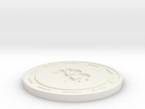 Bitcoin Themed Coaster in White Natural Versatile Plastic