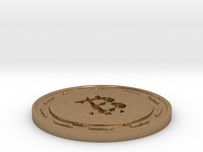 Bitcoin Themed Coaster in Natural Brass