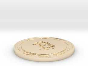 Bitcoin Themed Coaster in 14K Yellow Gold