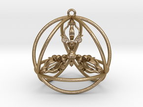 Quadruple Dorje Tetrasphere in Polished Gold Steel