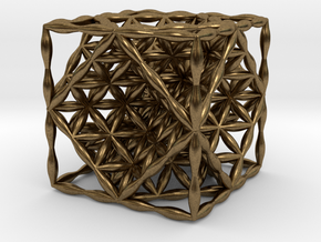 "Flower of Life Hexahedron 1"" (Cube)  in Natural Bronze"