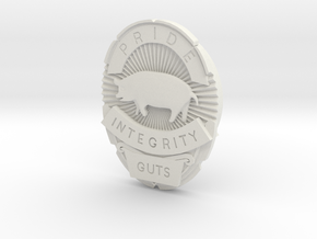 P.I.G. Badge in White Natural Versatile Plastic
