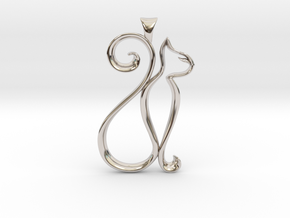 The Cat Necklace in Rhodium Plated Brass
