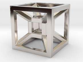 HYPERCUBE in Rhodium Plated Brass