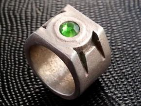 green lantern ring 20 55mm in Polished Bronzed Silver Steel