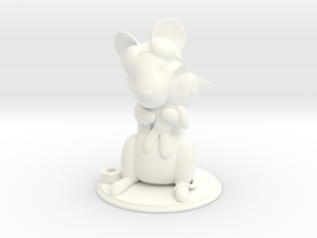 Mouse with Stuffed Cat - Mechanic version in White Processed Versatile Plastic